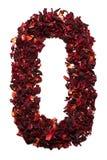 Numere 0 de las flores secadas del té del hibisco en un fondo blanco Número para las banderas, anuncios Foto de archivo libre de regalías