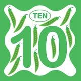 Numere 10 diez, tarjeta educativa, aprendiendo la cuenta ilustración del vector