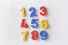 Numere los imanes del refrigerador Fotografía de archivo libre de regalías