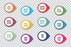 Numere a los marcadores coloridos 3d 1 al vector 12 del punto de bala libre illustration