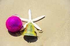 Numere 2014 na areia - conceito do feriado Imagem de Stock Royalty Free