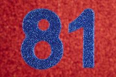 Numere oitenta e umas cores do azul sobre um fundo vermelho anniversary ilustração do vetor