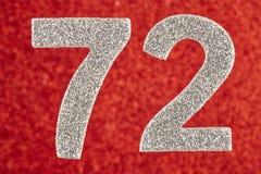 Numere seventy-two cores de prata sobre um fundo vermelho Anniversa ilustração royalty free