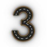 Numere três símbolos das figuras sob a forma de uma estrada com linha branca e amarela rendição das marcações 3d fotos de stock