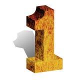 Numere um 1 3D numeral sinal 3-D do bloco isolado Foto de Stock