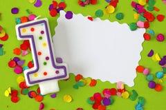 Numere una vela del cumpleaños Imágenes de archivo libres de regalías