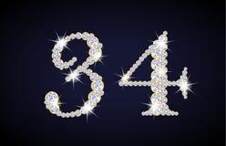 Numere 3 y 4 compuestos de diamantes con de oro Foto de archivo libre de regalías