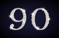 Numere 9 y 0 compuestos de diamantes con de oro Imágenes de archivo libres de regalías