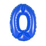 Numere 0 zero da obscuridade dos balões - azul Imagens de Stock