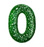 Numere 0 zero fez do plástico verde com os furos abstratos isolados no fundo branco 3d Imagens de Stock