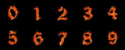 Numeri 0-9 in fiamme Fotografia Stock