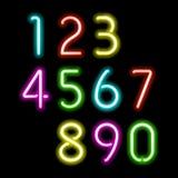 Numeri al neon Fotografia Stock Libera da Diritti