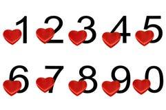 Numeri arabi con i cuori Immagini Stock Libere da Diritti