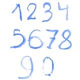 Numeri blu del ghiaccio dell'acquerello Immagini Stock