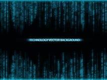 Numeri blu di caduta con i flash luminosi Tecnologia astratta Immagine Stock