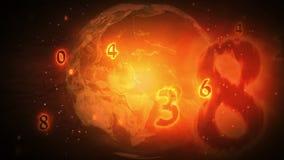 Numeri brucianti che sorvolano il pianeta della terra illustrazione di stock