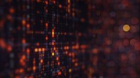 Numeri casuali arancio sul monitor del computer Immagine Stock