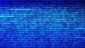 Numeri casuali blu di codice binario di tecnologie digitali che emettono luce su un fondo nero illustrazione vettoriale