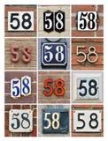 Numeri cinquantotto Fotografie Stock Libere da Diritti