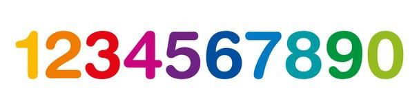 Numeri colorati arcobaleno da uno a zero Immagini Stock