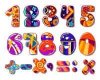 Numeri colourful della scuola del fumetto Immagini Stock