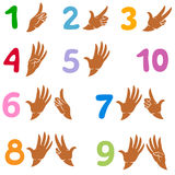 Numeri 1-9 come il simbolo e come i gesti di mano Royalty Illustrazione gratis