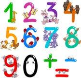 Numeri con gli animali del fumetto Immagine Stock
