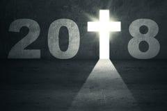 Numeri 2018 con una croce luminosa Fotografia Stock Libera da Diritti