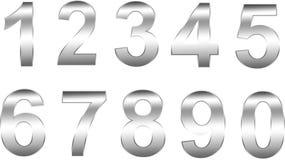 Numeri d'argento Fotografie Stock