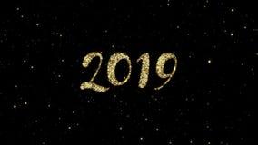 2019 numeri dalle particelle brillanti dell'oro si sono formati su un fondo del buon anno animato festa archivi video