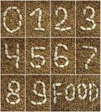 Numeri dei fagioli sui precedenti delle lenticchie Fotografia Stock