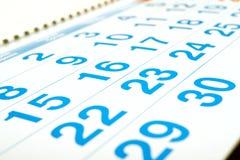 Numeri del calendario Fotografia Stock Libera da Diritti