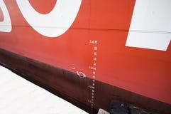 Numeri del calibro di profondità delle navi immagini stock