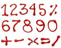 Numeri del ketchup Fotografia Stock