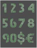 Numeri del metallo e segni di valuta Immagine Stock Libera da Diritti