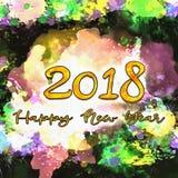 Numeri dell'acquerello 2018 Fotografie Stock