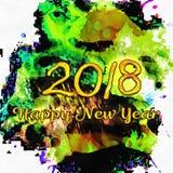 Numeri dell'acquerello 2018 Fotografie Stock Libere da Diritti