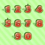 Numeri 1234567890 dell'anguria Fotografia Stock