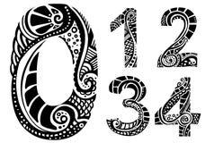 Numeri dell'ornamento 0-4 Immagine Stock