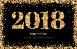 Numeri 2018 dell'oro del nuovo anno sul nero illustrazione di stock
