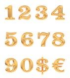 Numeri dell'oro e segni di valuta Immagine Stock Libera da Diritti