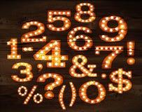 Numeri della lampada e stile di simboli vecchio Fotografia Stock Libera da Diritti