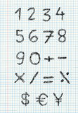 Numeri dello scarabocchio su documento quadrato Fotografie Stock