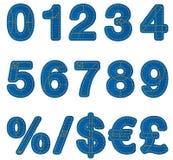 Numeri di alfabeto dei jeans Fotografia Stock