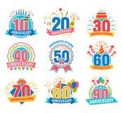 Numeri di anniversario fissati illustrazione vettoriale