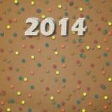 Numeri di carta di nuovo 2014 con i coriandoli Immagini Stock