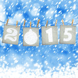 Numeri di carta innevati di nuovo 2015 con neve Immagini Stock
