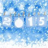 Numeri di carta innevati di nuovo 2015 con neve Fotografia Stock