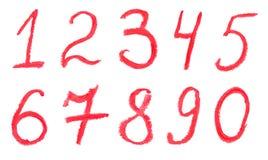 Numeri di disegno del rossetto Fotografia Stock