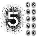 Numeri di fonte angolari dello stampino dello spruzzo Fotografia Stock Libera da Diritti